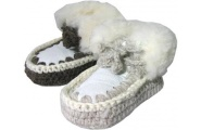 Knitted Sheepskin Boots with Tie - childrens Kiwi feet - ugg style
