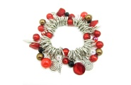 Red and silver charm bracelet from Hint of New Zealand.