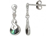 Sterling Silver Paua Twist Earrings