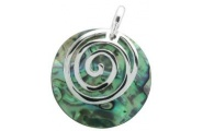 Sterling Silver Koru with Paua Shell Pendant