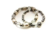 Double Pearl and Crystal Bracelet By Hint of New Zealand