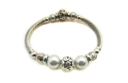 Grey Pearl Stretch Bangle By Hint of New Zealand
