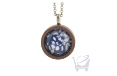 Blue Flowers Round Wooden Necklace – front