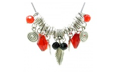 Red and Silver Charm Chain Necklace By Hint of New Zealand