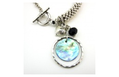 Paua Shell Disc Necklace By Hint of New Zealand